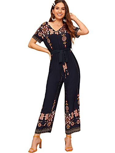 (Milumia Women's V Neck Floral Embroidered Belted Wide Leg Long Jumpsuit Romper)