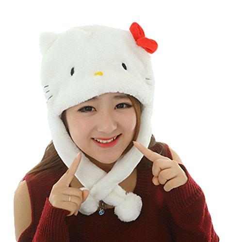 White Kitty Hoodie Hat (King Ma Unisex Plush Cartoon Animal Winter Headwear Hood Ski Hat)