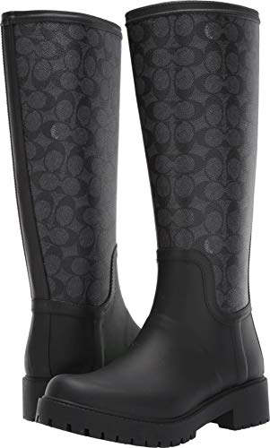 Coach Women's Signature Rain Boot with Signature Coated Canvas Charcoal/Black Rubber 8 M US