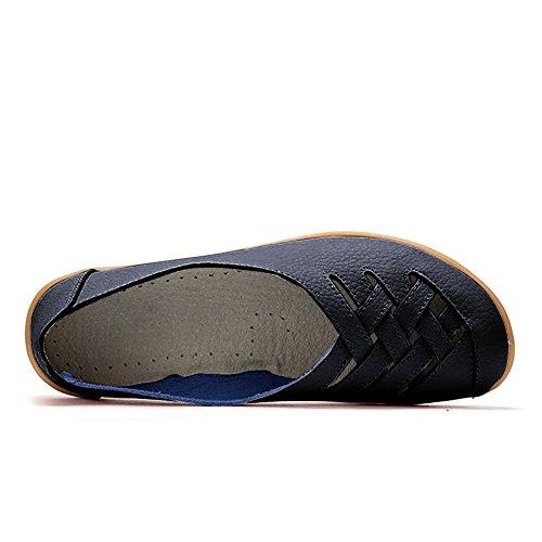 Blivener Kvinna Tillfälliga Loafers Ihåliga Platta Skor Kör Skor 02black
