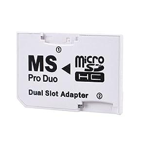 LEAGY White Dual Slot PSP Memory Stick Pro Duo Adapter (Dual Slot Adapter)