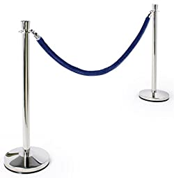 """Blue Velvet Rope Stanchions Have Rubberized Bases Supporting the 39""""h Poles – Polished Chrome Metal Exterior"""