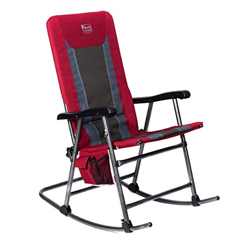 Timber Ridge Rocking Chair Folding Padded Patio Lawn Reclining Camping with Armrest, Side Storage Bag, Supports 300lbs ()