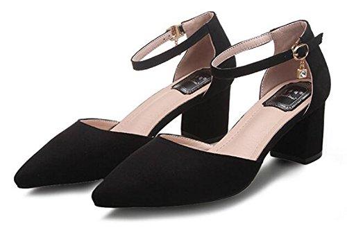 Chfso Mujeres Moda Sólido Suede Pendant Hebilla De Punta Estrecha Correa Para El Tobillo Mid Block Heel Pumps Zapatos Black