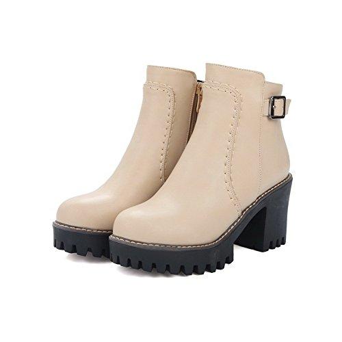 VogueZone009 Damen Rein Hoher Absatz Rund Zehe Stiefel mit Schnalle Aprikosen Farbe