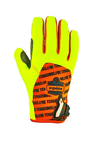 (ProFlex 812 Work Gloves, High Visibility, Synthetic Leather Palm, Medium, Lime)