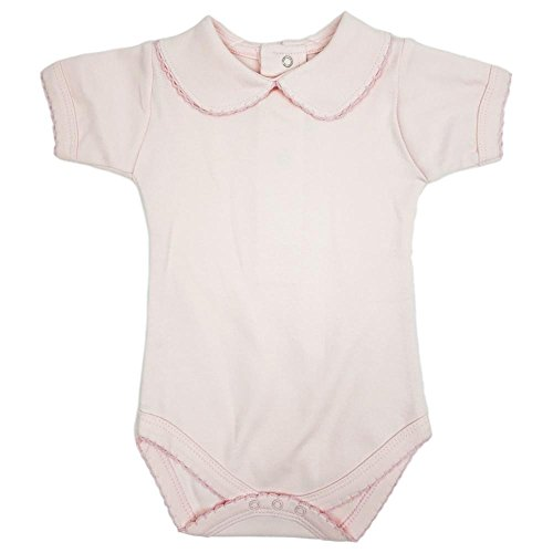 (CARLINO Baby Peter Pan Collared Bodysuit - Short Sleeve, Extra Soft, 6 Colors Available)
