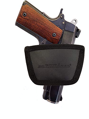 Garrison Grip Leather Inside and Outside Waistband Easy Slide Holster Fits 1911 Defender 4 Inch Barrel (SLH) Black