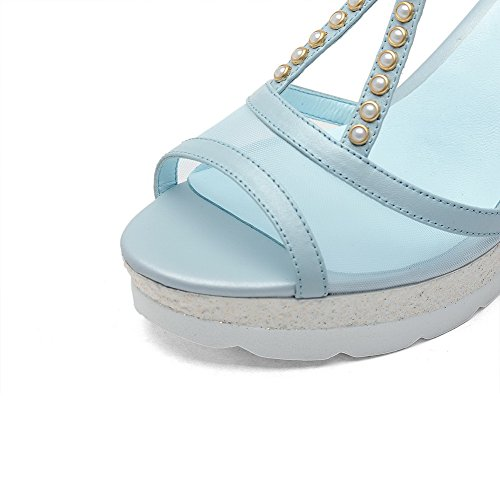 VogueZone009 Women's Soft Material Buckle Closed Toe Kitten-Heels Solid Sandals Blue 1SYqFuET0Q