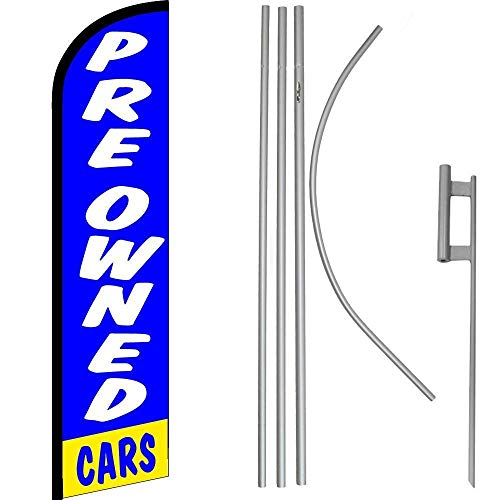 ALBATROS Preowned Cars Blue White Windless Banner Flag with 16in Flagpole Kit/Ground for Home and Parades, Official Party, All Weather Indoors Outdoors ()