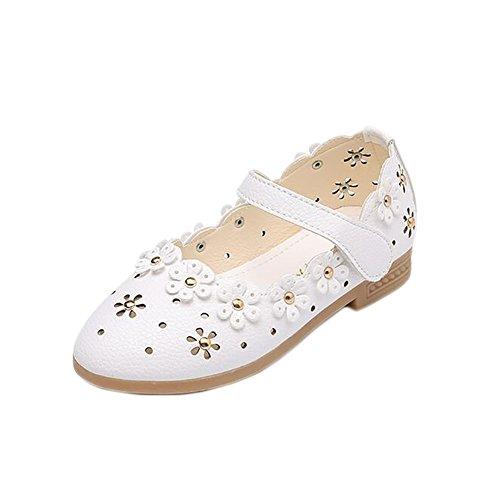 155025cc12ab0 BININBOX Girls Hollow Girls Dress Shoes Flower Princess Flat Shoes Mary  Jane (13 M US Little Kid, White)