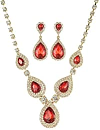 Teardrop Crystal Rhinestone Necklace Earrings Jewelry Sets for Wedding
