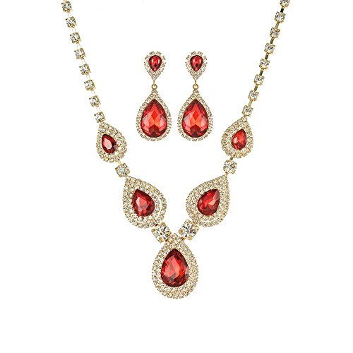 Miraculous Garden Teardrop Crystal Rhinestone Necklace Earrings Jewelry Sets for Wedding ()