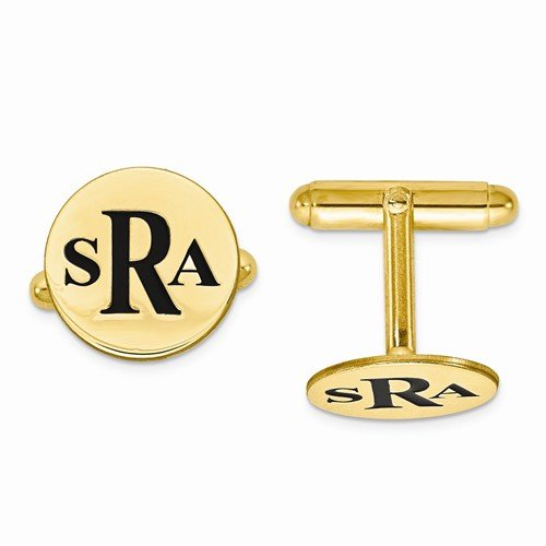 Enameled Circle Monogram Initial Cufflinks in 14k Yellow Gold 14k Gold Circle Cufflinks