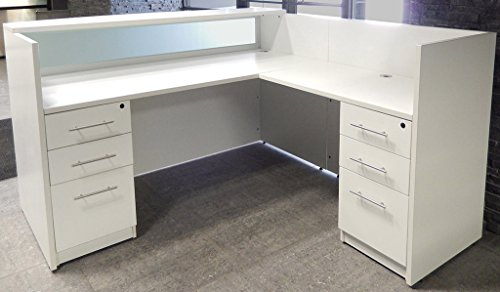 L-Shaped White Reception Desk w/Frosted Glass (Reception L-shaped Office Desk)