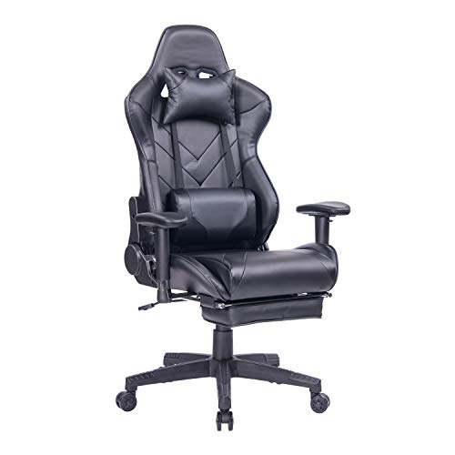 HEALGEN Gaming Chair with Footrest PC Computer Video Game Chair Racing Style Gamer Chairs High Back Swivel Executive Reclining Ergonomic Office Chair with Headrest and Lumbar Support Cushion (Black)