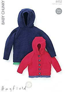 d56fa9bff706 Hayfield Baby Chunky Hooded Boy s Duffle Coat Knitting Pattern 4486 ...