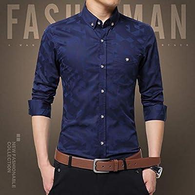 CSDM Camisa de Hombre Casual Camisa de Hombre de Manga Larga Jacquard Weave Slim Fit Camisa de los Hombres de algodón para Hombre Vestido Camisas Hombres Ropa 5XL: Amazon.es: Hogar