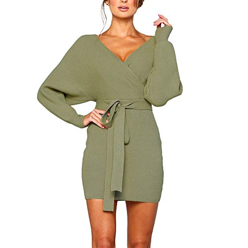 Women Sexy Dresses,Cinsanong Sale! Belted Backless Sexy V Neck Sweater Dresses Knitwear Knitted Bodycon ()