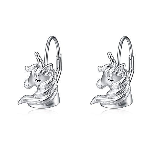 LUHE Unicorn Earrings for Women Teen Girls 925 Sterling Silver Unicorn Leverback Dangle Hoop Earrings Jewelry Dangles Gifts ()