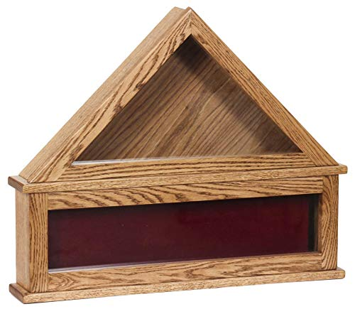 Solid Wood Flag Display Case with Medal Display Box- Oak Wood Amish Crafted Made in America Flag Display Case for Burial Flag and Medal Honor Pins