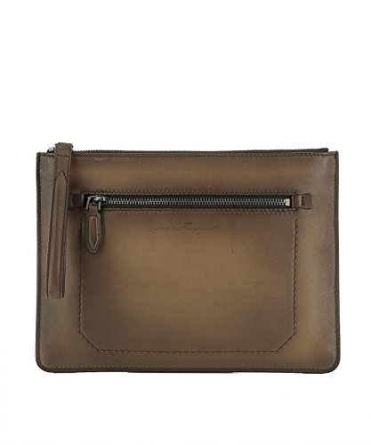 0678854 Salvatore Ferragamo Woman Brown Leather Clutch