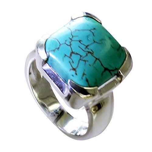 55Carat Genuine Turquoise Sterling Silver Ring for Women Cushion Cut Astrological Size 5,6,7,8,9,10,11,12 (Cushion Turquoise Ring Cut)