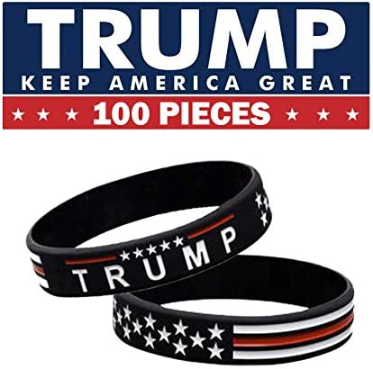 100 Pieces Mega Pack Black New Keep Great for President Vote 2020 Silicone Bracelets for Donald Trump Option 2