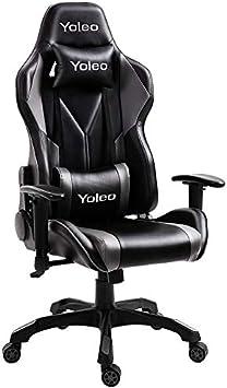 YOLEO Silla Gaming Profesional, Silla Ajustable Giratoria para Juegos, Poilipiel, Ergonómica, Carga Máxima de 150 kg, Negro-Gris