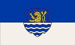 magFlags Large Flag Wegberg | Beschreibung der Flagge Die Flagge der Stadt Wegberg zeigt die Farben blau und weiß sie trägt in ihrer Mitte das Stadtwappen oder die Embleme des Stadtwappe
