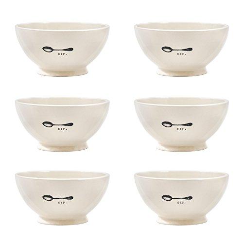 Creamy White Ceramic (Artisan Collection - Ceramic Cereal Bowls Set of 6, Creamy White)
