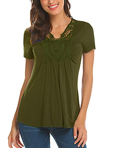 Locryz Women Peasant Blouse Short Sleeve Ruched Front Lace Shirt Low Cut Ruffle Summer Tops (S, Army Green)