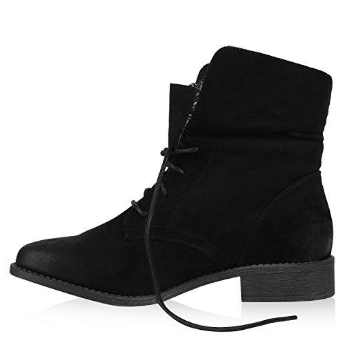Stiefelparadies Damen Stiefeletten Lack Materialmix Boots Schnürstiefeletten Flandell Schwarz Stulpen