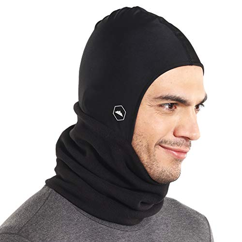Tough Headwear Balaclava Ski Mask | Fleece Neck Warmer with Helmet Liner Hood | Fits Under Helmets & Hard Hats (Ski Helmet Chrome)