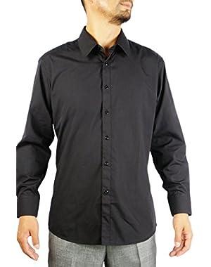 Men's Slim Fit Dress Shirt Convertible Cuff Solid