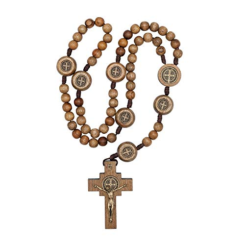 St Benedict Mens Large Intercession Rosary - Made in Brazil (Walnut with Medals on our Father - On A String Walnuts