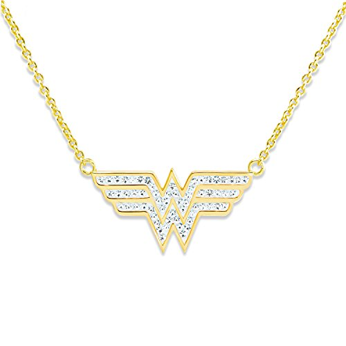 DC Comics Wonder Woman Jewelry for Women and Girls, Yellow Gold Plated Crystal Logo Pendant Necklace, 18