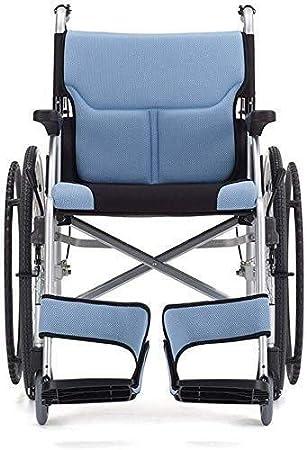 Hyy-yy Discapacitados en silla de ruedas de aluminio, Autopropulsada silla de ruedas con la rueda trasera de la PU libre inflable, 24 pulgadas de la rueda trasera, azul, for inválidos y los usuarios c