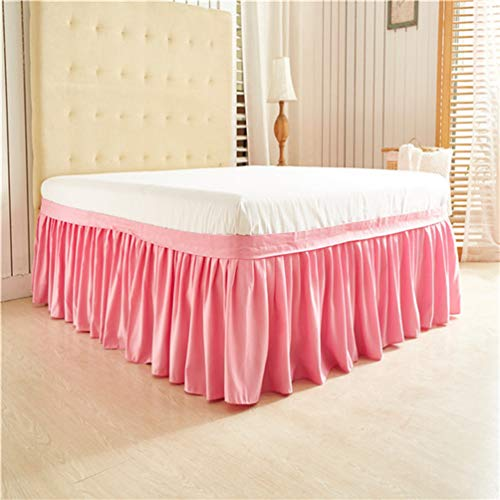 YURASIKU Solid Color Wrap Around Solid Ruffled Bed Skirt, US Twin Queen King Size Polyester Fabric Soft