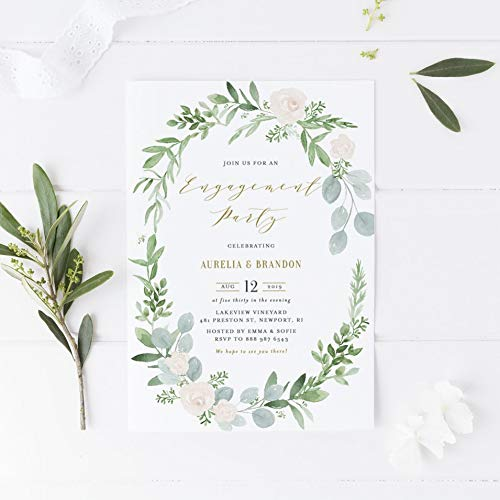 Dozili Engagement Party Invitation Watercolor Greenery and White Floral Wreath Engagement Party -