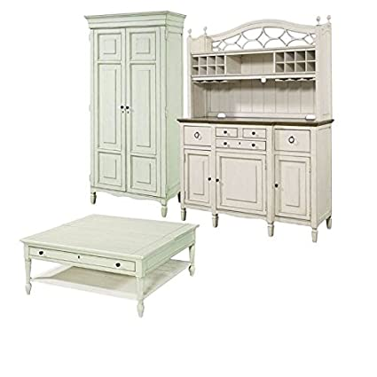 Amazon Home Square 3 Piece Living Room Set With Tall Cabinet