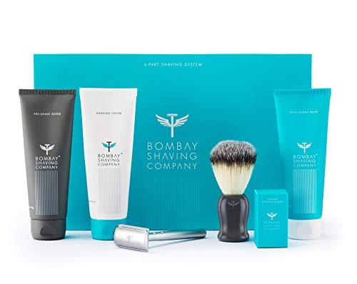 Bombay Shaving Company Complete Shaving Kit (Safety Razor, Blades, Imitation Badger Brush, Scrub, Cream, Balm) | Gift for Men