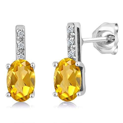 Yellow Citrine Stud Diamond Women's Stud Earrings 0.83 Cttw 6X4mm Oval (Citrine And Diamond Earrings)