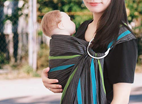 Vlokup Baby Sling Ring Sling Carrier Wrap | Extra Soft Lightweight Cotton Baby Slings for Infant, Toddler, Newborn and Kids | Great Gift, Lightly Padded Adjustable Nursing Cover Grey Rainbow
