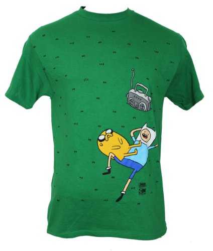 Adventure Time Mens T-Shirt - Jack and Finn Chillaxing in Grass (Large) Green