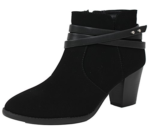 City Classified Women's Closed Toe Criss Cross Multi Strap Stacked MId Heel Ankle Bootie (Black, 8 B(M) US) ()