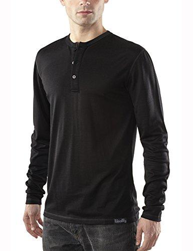 Woolly Clothing Co Men's Merino Wool Long Sleeve Henley (190 GSM) Large Black