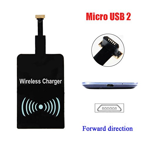 (Android Qi Charging Receiver, Ultra-thin Qi Standard Wireless Charging Receiver For Samsung Galaxy S2/S3/S4/S5/Note 2/3/4, HTC, Nokia, Blackberry, Pentax, Huawei, VIVO, OPPO and other Micro-USB)