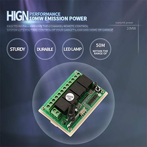 Qewmsg Remote Control Switch AC 12V 4CH Relay Receiver Module with Remote Controller - Wireless 4 Ch Receiver Module