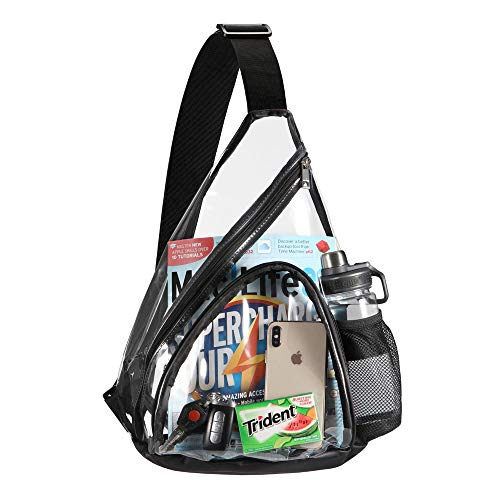 (Clear Bag, HULISEN Sling Bag with Widened Adjustable Strap, Cross-Body Bag with Extra External Pocket and Mesh Pocket, Strong Zipper, NFL, MLB, NCAA & PGA Stadium Approved (Black) )